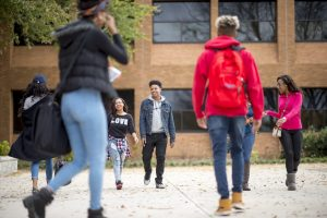 Students walking outside